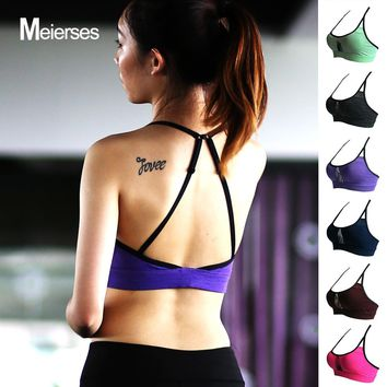 MEIERSES Women Sports Bra Mesh Fitness Shake Proof Padded Yoga Bra Workout Gym Tank Top Fitness Running Yoga Bra Quick Dry