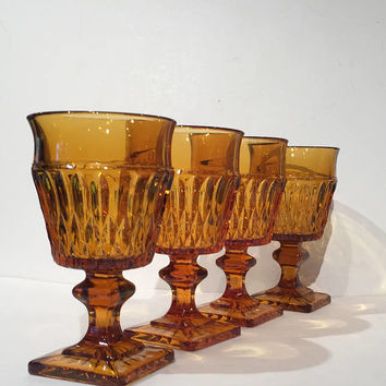 Indiana Glass Amber Goblets, Set of 4 Wine Glasses