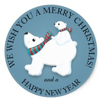 Mother and Baby Polar Bear on Blue Merry Christmas Classic Round Sticker