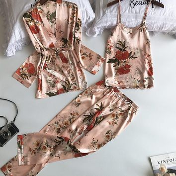 Floral Satin Silk Pajamas 3 Piece Set