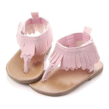 US Stock Newborn Sandals Infant First Shoes Baby Girls Moccasin Tassel Shoes