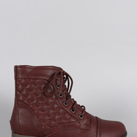 Quilted Round Toe Lace Up Combat Ankle Boots