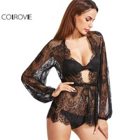 Fashion Lace Hollow Shirts Women Sexy Blouse Black Plunge Neck Drawstring Waist Lace Cover Up Top Blouse