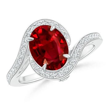 Bypass Diamond Shank Ruby Halo Ring