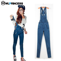 Owlprincess 2016 New Spring Denim Jumpsuits Women Vaqueros Romper Long Pants Jeans Skinny Overalls Suspender Female Slim Catsuit