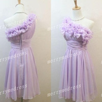 Light Purple Flower One-Shoulder Short Ruffled Bridesmaid Celebrity Dress,Chiffon Formal Evening Party Prom Dress New Homecoming Dress