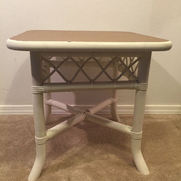 White Rattan side table