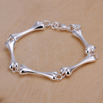 Bone Shaped Silver Bracelet