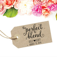 The Perfect Blend Tag Stamp | Wedding Coffee Cup Sleeve | Wedding Stamp Rubber | Coffee Wedding Favor | Coffee Cup Label | Tea Party Favor