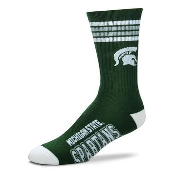 MICHIGAN STATE SPARTANS DEUCE STRIPED CREW SOCKS SIZE LARGE NEW FOR BARE FEET