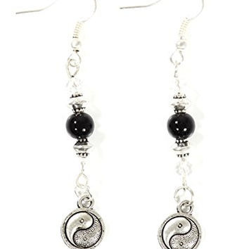 Yin Yang Earrings Silver Tone Tao Dangle Black Beaded Earrings EG31 Fashion Jewelry