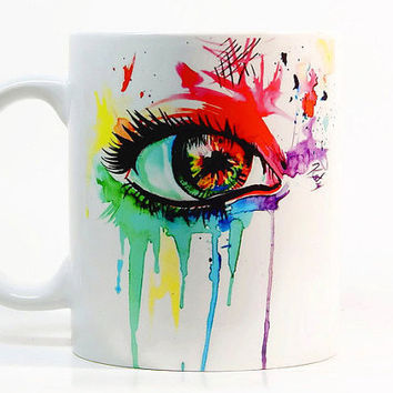 Womens eye coffee mug, Eye mug Watercolor Mug Coffee Cup, Tea Cup, Gift for her, Gift for him, Printed mug, Ceramic mug
