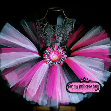 Hot Pink Zebra Tutu Skirt by formyprincesstutus on Etsy
