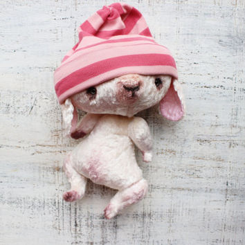 OOAK artist bunny rabbit 8 inches ivory pink polka dot teddy white bunny