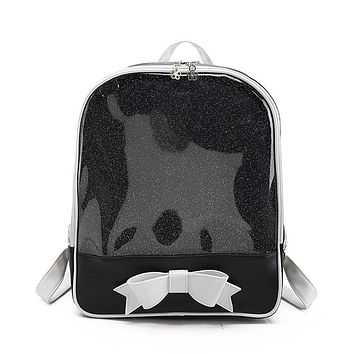 2017 New Summer Cute Bow Backpacks Candy Transparent Backpacks for Teenage Girls Female School Shoulder Bag Bagpack mochila