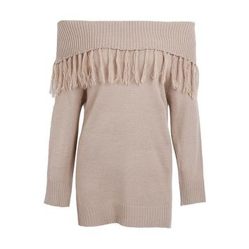 Off Shoulder Knitting Casual Winter Sweater Tassel Loose Pullover Knit Jumper