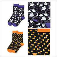 Set of Two Pair of Halloween Socks! Candy Corn and Halloween Purple Ghost Designs.