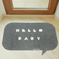 "Speech bubble shape ""Hello baby"". Funny home decor rug"