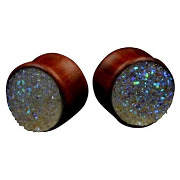 Natural Rose Wood Double Flared Ear Plugs / Druzy