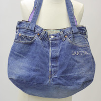 Vintage Denim bag Hippie bag boho bag Levi Blue Jean bag Levi bag Denim beach bag Festival bag Carryall bag Jean bag