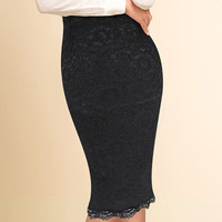 Vfemage Women Elegant Floral Lace High Waist Wear to Work Office Party Bodycon Fitted Skirt