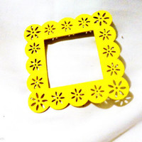 Yellow open back wood frames aqua yellow black white 4x4 COLORFUL PAINTED FRAMES picture frames laser cut ornate decorative wood frames