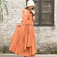 New fashion Summer women cotton linen multilayer bottom vest dress sleeveless irregular long dresses for gril 85130
