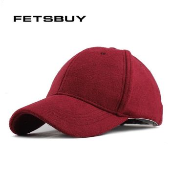 Trendy Winter Jacket FETSBUY  Warm Winter Fedora Baseball Cap Men Brand Snapback Black Solid Bone Casquette Baseball Mens Winter Hats Gorras AT_92_12