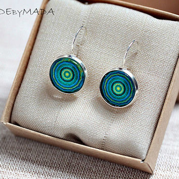 Blue and green Leverback earrings  Manadalas  Spring summer trend, gift for her from MADEbyMADA
