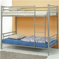 A.M.B. Furniture & Design :: Bedroom furniture :: Bedroom Sets :: Bunk Bed Sets :: Silver finish metal twin over twin bunk bed set