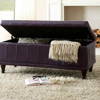 Home Elegance 4730PPE Afton collection purple bycast vinyl upholstered storage ottoman bench with tufted seat
