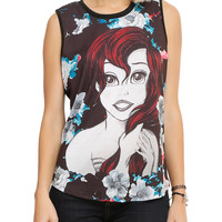 Disney The Little Mermaid Floral Ariel Sketch Girls Muscle Top
