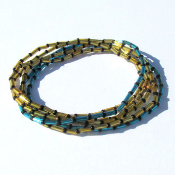 Beaded Stretch Bracelets, Black Blue Gold, Set of Five, Seed Bead and Bugle Bead Jewelry