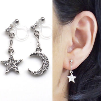 Star and Moon Clip On Earrings,Crystal Clip On Earrings, Invisible Clip On Earrings,Silver Clip Earrings, Non Pierced Earrings, Pierced Look