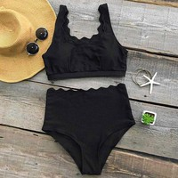 Cupshe Seaside Tank High-waisted Bikini Set Irregular Wave Hem Swimsuit Bathing Suit Biquini Monokini  Maillot De Bain