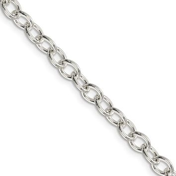 Men's 5.75mm, Sterling Silver Oval Solid Cable Chain Necklace, 16 Inch