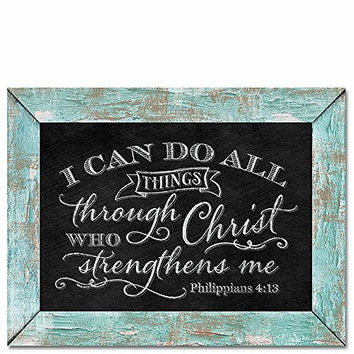 "Highland Graphics 11.5"" x 9"" Hanging Chalkboard Style Sign ""I Can Do All Things Through Christ..."""