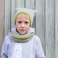 Knitted beanie for kids 3-6 years from extra fine organic merino wool and alpaca, unisex