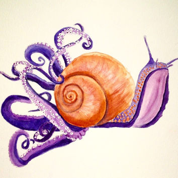 Steampunk snail in purple and orange, original watercolor, 8x10""