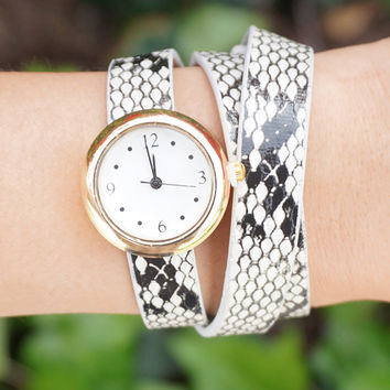 Skinny Wrap Watch, Boho Wrap Watch, Bracelet Watch, Minimal Watch with Matching Bracelets