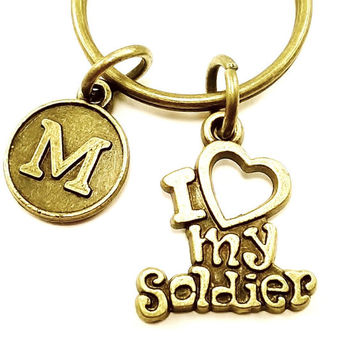 I Heart my Soldier keyring, keychain, bag charm, purse charm, monogram personalized item No.322