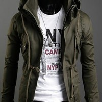 In Fashion Stand Collar Man's Cotton Jacket Army Green M/L/XL @S0-6357-1ag $49.04 only in eFexcity.com.