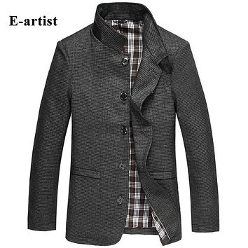 Slim Fit Casual Men Jackets Coats Male Woolen Spring Outerwear Pea Coats Overcoats