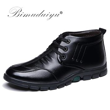 Soft Leather Snow Boots Waterproof Rubber Sole Non-slip Warm Ankle Boots Lace Up Men Winter Boots