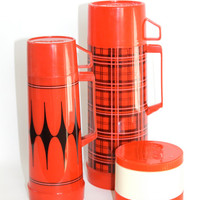 Set of Three Vintage Aladdin Black and Red Thermoses