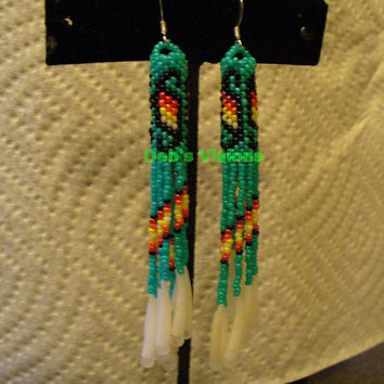 Turqouise Green Peyote stitched earrings with Dentillium fringe