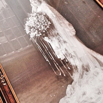 Antique Wedding Photo / Vintage Bride Black and White Photo in an Antique Hand Carved Wood Frame