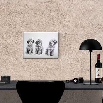 Dog Art: Poodle, original art, hand-signed, unique piece, Hand made Pop Art illustration
