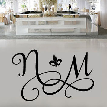 Huge feur theme dance floor decal wedding day fancy font