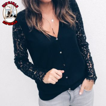 New fashion lace long sleeve top sweater Black